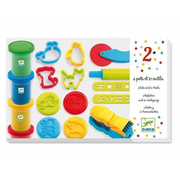 set-pasta-da-modellare-kit-artistico-4-colori-21-utensili-djeco-plastilina-dj09755-eta-2